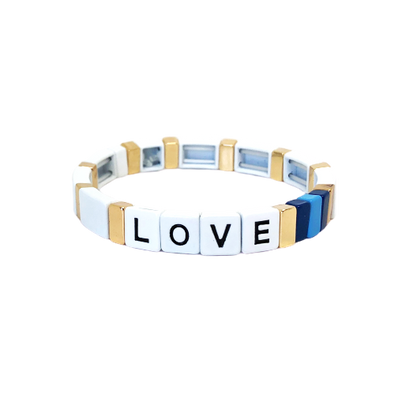 LOVE Color Block Elastic Bracelet White