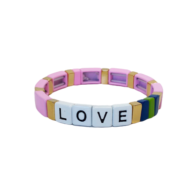 LOVE Color Block Elastic Bracelet Pink
