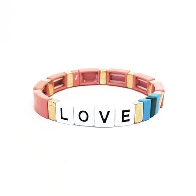 LOVE Color Block Elastic Bracelet Old Pink