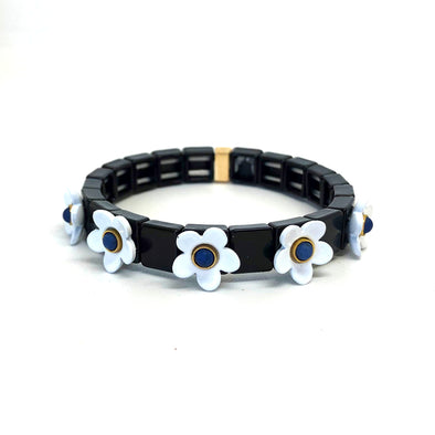 Daisy Color Block Elastic Bracelet White/ Black