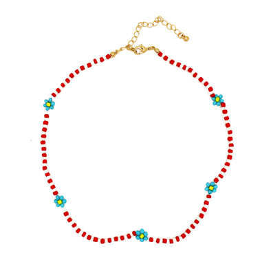 Daisy Beads Necklace Red