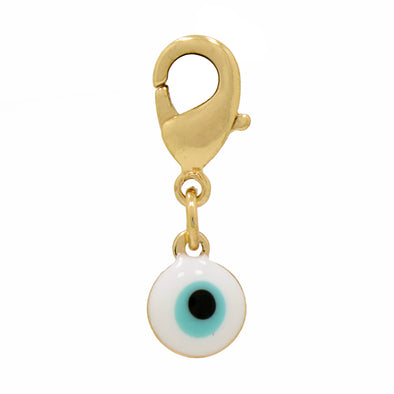 Enamel Evil Eye Charm White