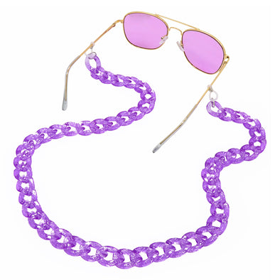 Lollipop Sunglasses & Mask Chain Purple Glitter