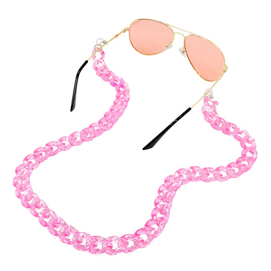 Lollipop Sunglasses & Mask Chain Light Pink Glitter