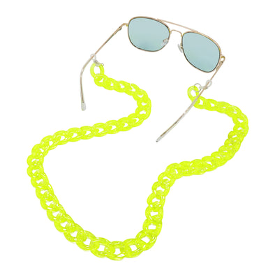 Lollipop Sunglasses & Mask Chain Yellow Glitter