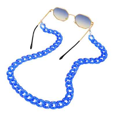 Lollipop Sunglasses & Mask Chain Blue Glitter