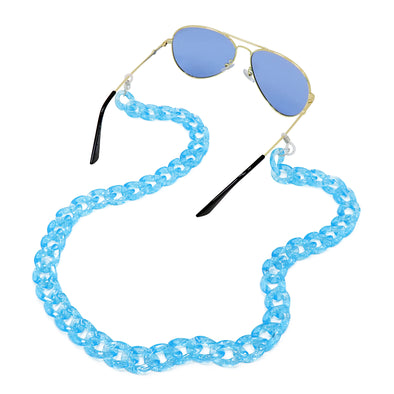 Lollipop Sunglasses & Mask Chain Turquoise Glitter