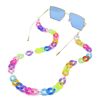 Lollipop Sunglasses & Mask Chain Multi Glitter