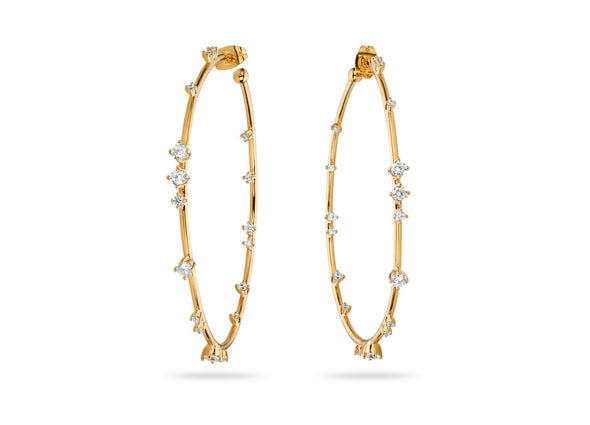 Hoops - White Stones - Gold