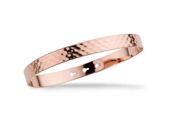 Hammered - Large - Pink Gold Bangle