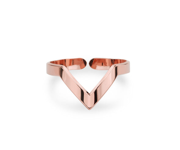 V-Shaped - Pink Gold Ring