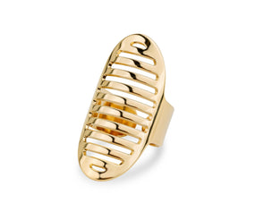 Striped Oval - Gold Ring