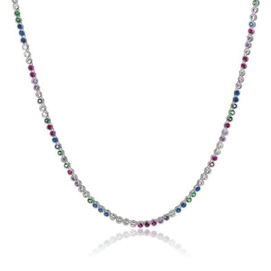 Baroness Necklace Silver Rainbow Simulated Diamond