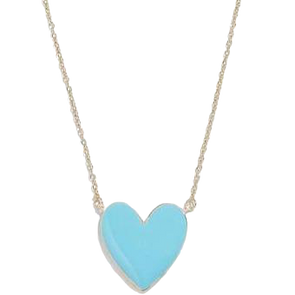 Retro Enamel Heart Pendant Turquoise Gold Plated