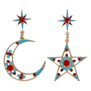 Audrey Asymetrical Earrings Moon And Star Gold Plated