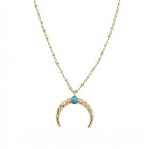 Arabesque Moon Necklace Turquoise