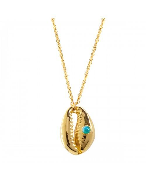 Pendant Cauris Shell With Natural Turquoise