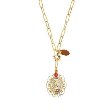 Scarlett long necklace 2 in 1 Cameo Flowers