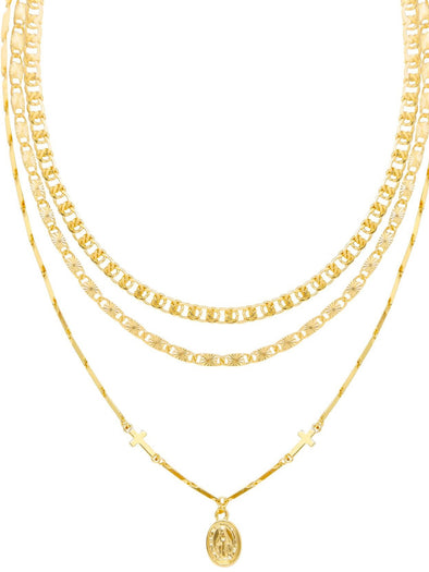 Necklace Mixed Layers Gold Plated