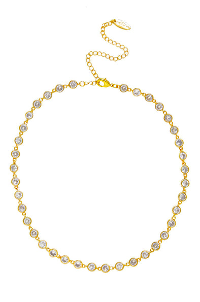 Crystal Disc & Gold Link Necklace