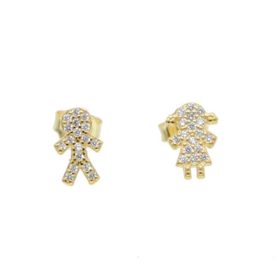 Girl Boy Stud Earrings 18K Gold Plated