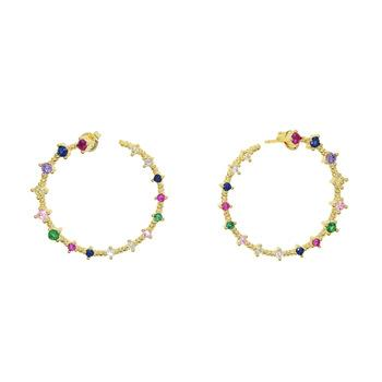 Rainbow Circle Hoop Earrings 18K Gold Plated