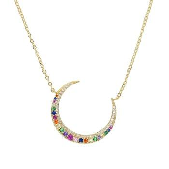 Rainbow Moon Necklace 18K Gold Plated
