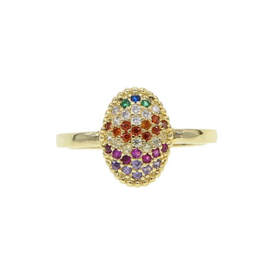Rainbow Oval Ring 18K Gold Plated