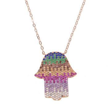 Rainbow Hamsa Hand Necklace 18K Gold Plated