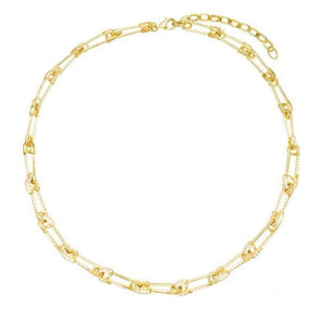 Safety Pin Charm Choker Necklace 18K Gold Plated