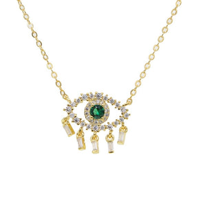 Green Evil Eye Necklace 18K Gold Plated