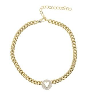 Heart Chain Women Necklace 18K Gold Plated
