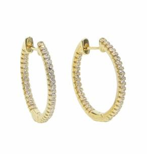 Huggie Hoops 22Mm White 18K Gold Plated