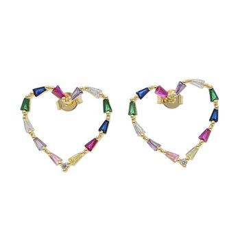 Hollow Heart Stud Rainbow Earrings 18K Gold Plated