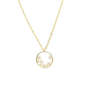 Round Pendant With Stars 18K Gold Plated