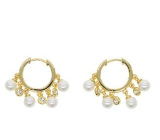 Pearl Hanging Small Hoops 18K Gold Plated