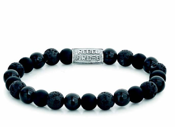 R&R Bracelet - Black Rocks - 8Mm