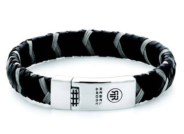 Bracelet Braided Oval Metal Black M  19,5 cm
