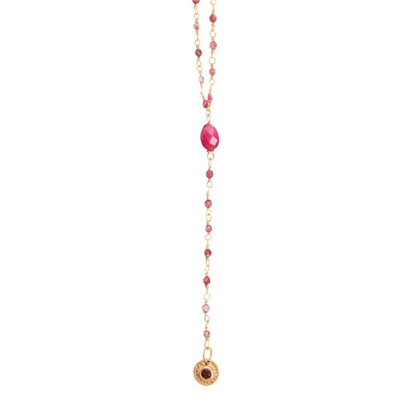 Chapelet Court Rubis Medaille - Indian Chain Brass
