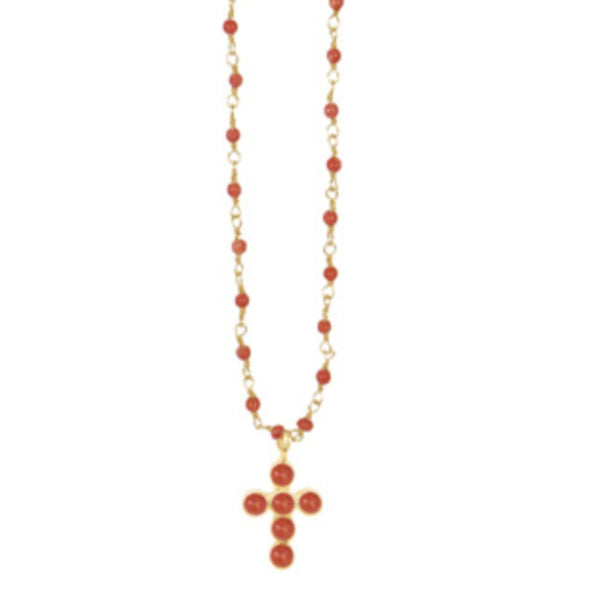 Collier Inde Corail Croix Cab - Indian Chain  Bras