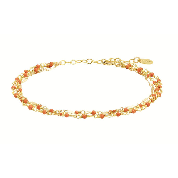 Bracelet Inde Multi Corail - Indian Chain  Brass