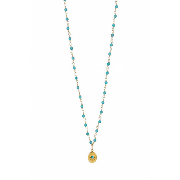 Collier Inde Turq Medaille - Indian Chain  Brass