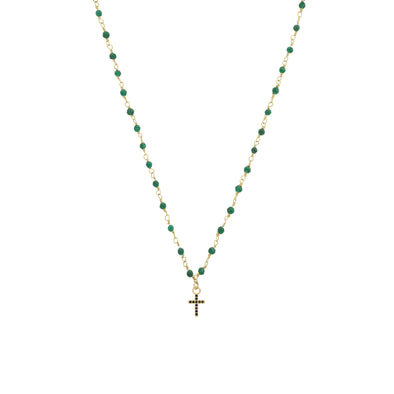 Collier Inde Emeraude Croix Zn