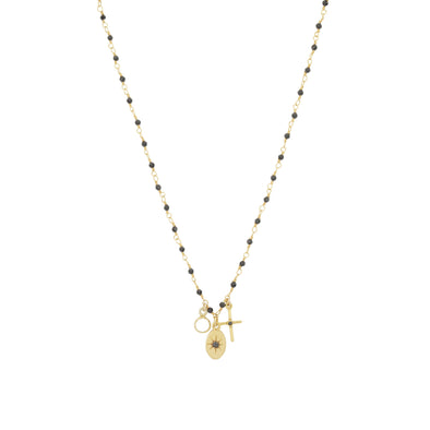 Collier Inde Multi Charms Noir