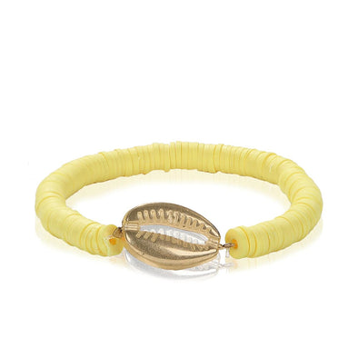 Bracelet Surfer with Shell Yellow