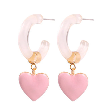 Betty Enamel Heart Earrings Pink