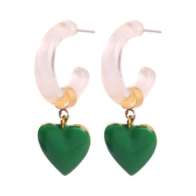 Betty Enamel Heart Earrings Green