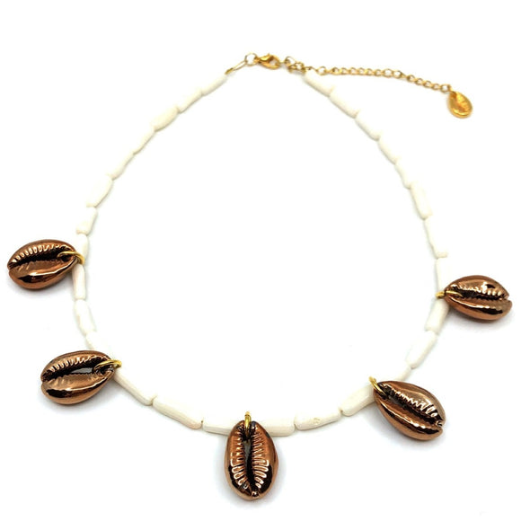 White Coral Necklace With Copper Shells