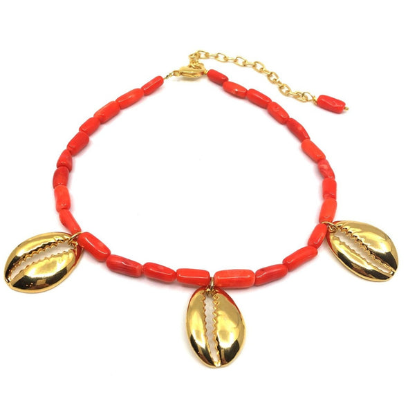 Bamboo Necklace Coral And Shell