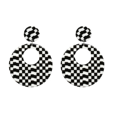 Retro Checkered Resin Drop Earrings